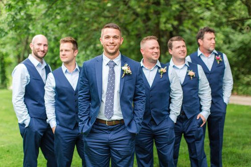 Navy Satin Groomsmen Vest Made to Order Wedding Men's Waistcoat V-neck 4 Pockets 5 Buttons