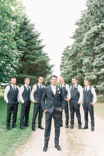 Black Satin Groomsmen Vest Made to Order Wedding Men's Waistcoat V-neck 2 Pockets 4 Buttons