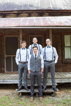 Load image into Gallery viewer, Charcoal Grey Satin Groomsmen Vest Made to Order Wedding Men's Waistcoat V-neck 2 Pockets 6 Buttons