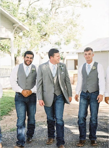 Light Grey Satin Groomsmen Vest Made to Order Wedding Men's Waistcoat V-neck 0 Pocket 4 Buttons
