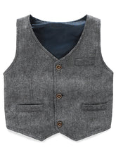 Load image into Gallery viewer, Charcoal Grey Boy's Vest Made to Order Wedding Ring Bearer Waistcoat 3 Pockets 3 Buttons