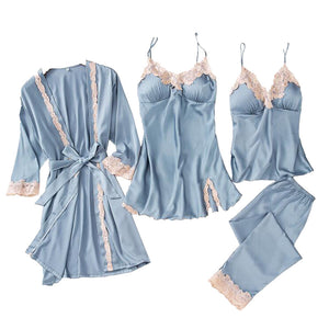 Women's Sleepwear 5pcs Sexy Silk Satin Cami Pajama Sets With Robe