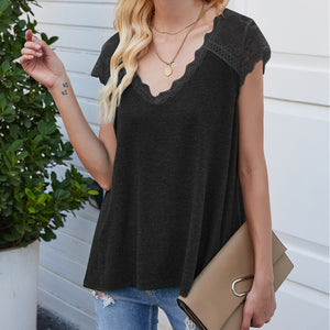 Women's T-shirts Lace V Neck Color Matching Loose Fit