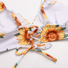 Load image into Gallery viewer, Sun Flower Print Lace Up Women's bikini Sets