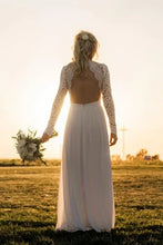 Load image into Gallery viewer, Classic Wedding Dress Ivory Lace Chiffon Long Bridesmaid Dress 2020