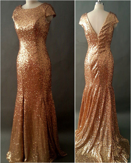 Bronze Gold Sequin Long Bridesmaid Dress 2020 Mermaid