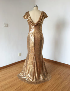 Cowl Back Bronze Gold Sequin Long Bridesmaid Dress 2020 Mermaid