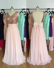 Load image into Gallery viewer, Rose Gold Sequin Pearl Pink Chiffon Long Bridesmaid Dress 2020
