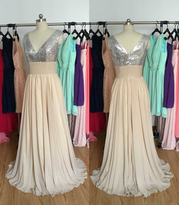 Silver Sequin Champagne Chiffon Long Bridesmaid Dress 2020