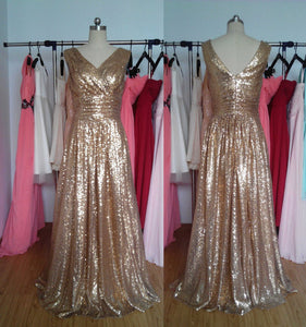 Bronze Gold Sequin Long Bridesmaid Dress 2020