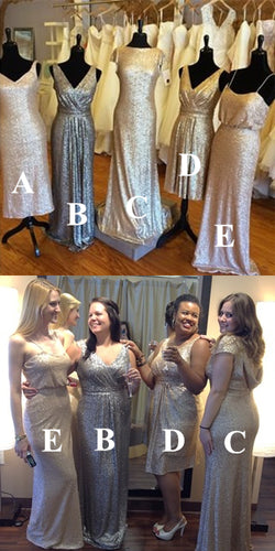 Sequin Bridesmaid Dress 2021 Mismatched Wedding Party Dresses