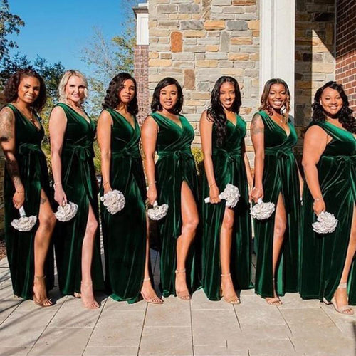 Dark Green Velvet Bridesmaid Dress with Slit