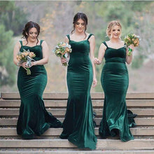 Load image into Gallery viewer, Forest Green Velvet Bridesmaid Dress Mermaid