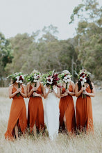 Load image into Gallery viewer, Burnt Orange Chiffon Long Bridesmaid Dress 2020