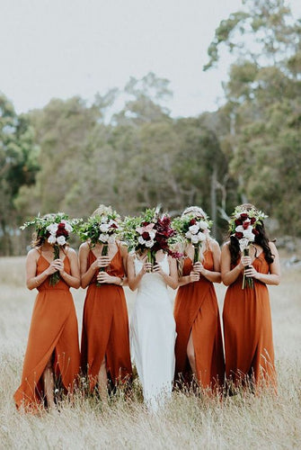 Burnt Orange Chiffon Long Bridesmaid Dress 2020