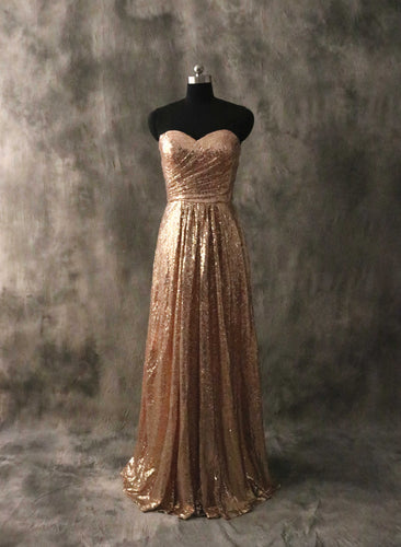 Sweetheart Bronze Gold Sequin Long Bridesmaid Dress