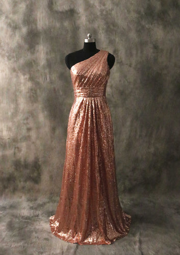 One-shoulder Rose Gold Sequin Long Bridesmaid Dress 2020