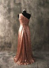 Load image into Gallery viewer, One-shoulder Rose Gold Sequin Long Bridesmaid Dress 2020