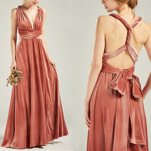 Velvet Convertible Dress Dusty Coral Bridesmaid Dress