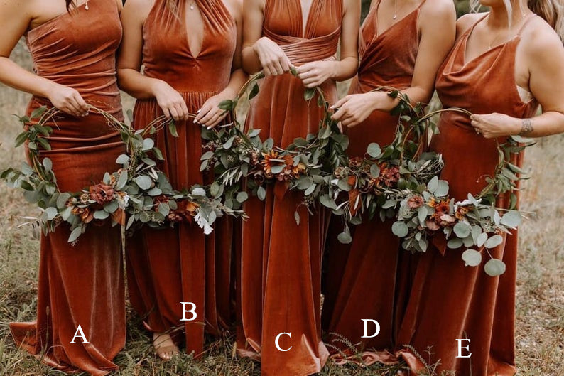 Mismatched Bridesmaid Dresses - Burnt Orange Velvet Maxi Dresses