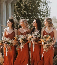 Load image into Gallery viewer, Burnt Orange Chiffon Long Bridesmaid Dress 2020 Sheath Spaghetti Straps