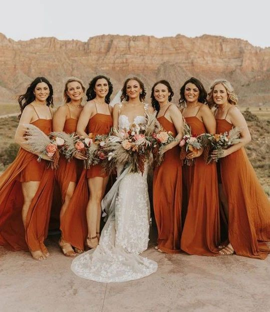 Burnt Orange Chiffon Long Bridesmaid Dress 2020 with Detachable Skirt