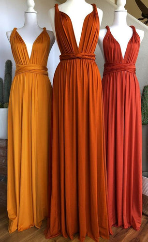 Burnt Orange Jersey Long Convertible Bridesmaid Dress Infinity Wrap Dress