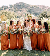 Load image into Gallery viewer, Burnt Orange Chiffon Long Bridesmaid Dress 2020 Criss Cross Back