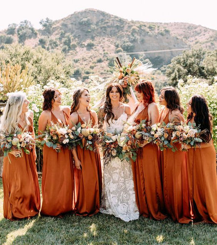 Burnt Orange Chiffon Long Bridesmaid Dress 2020 Criss Cross Back