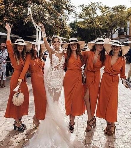 Burnt Orange Chiffon Midi Wrap Bridesmaid Dress 2020 with Long Sleeves