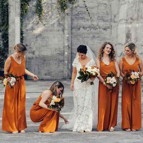 Burnt Orange Chiffon Long Bridesmaid Dress 2020 Two Pieces Top & Jumpsuit