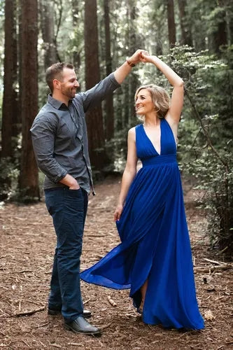 Royal Blue Chiffon Long Bridesmaid Dress 2020 with Slit