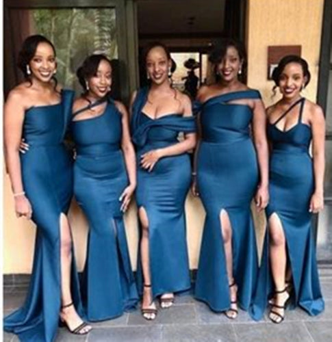 African Bridesmaid Dress 2021 Teal Blue Satin