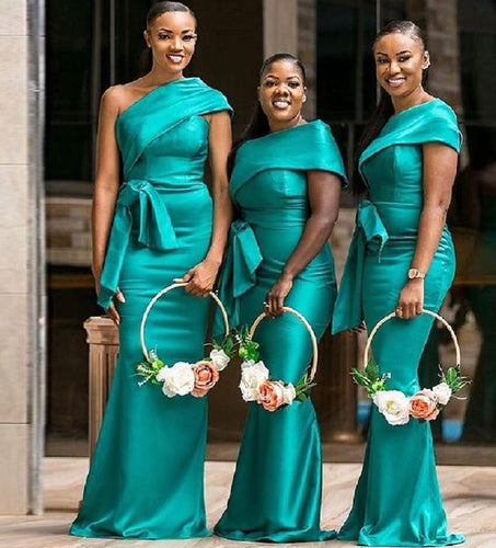 African Bridesmaid Dress 2021 One Shoulder Satin