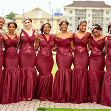 Load image into Gallery viewer, African Bridesmaid Dress 2021 Burgundy Tulle Lace Mermaid