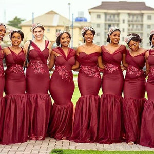 African Bridesmaid Dress 2021 Burgundy Tulle Lace Mermaid