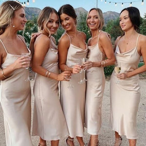 Champagne Bridesmaid Dress 2021 Cowl Neck Silk Slip Midi Dress