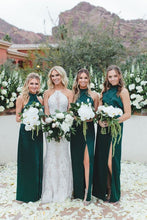 Load image into Gallery viewer, Emerald Green Bridesmaid Dress 2021 Halter Crepe Satin Maxi Dress with Slit