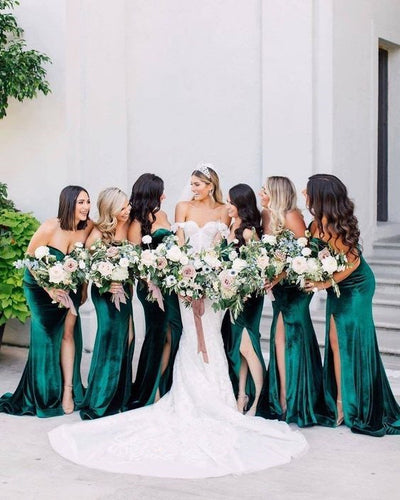 Emerald Green Velvet Bridesmaid Dress 2021 Sweetheart Maxi Dress with Slit & Horsehair Hem