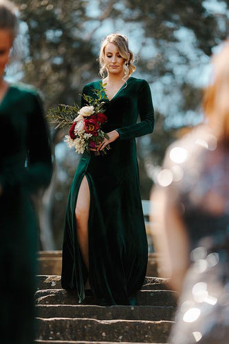 Emerald Green Velvet Bridesmaid Dress 2021 V-neck Maxi Dress with Slit & Long Sleeves
