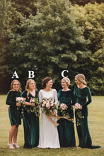 Load image into Gallery viewer, Emerald Green Velvet Bridesmaid Dress 2021 Mismatched Wedding Party Dresses