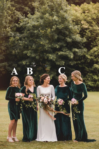 Emerald Green Velvet Bridesmaid Dress 2021 Mismatched Wedding Party Dresses