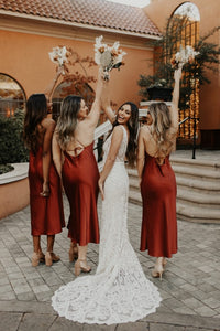 Fall Bridesmaid Dress 2021 Cowl Neck Burnt Orange Rust Silk Slip Midi Dress Strappy Back