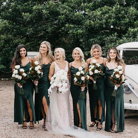 Green Bridesmaid Dress 2021 Cowl Neck Chiffon Maxi Slip Dress with Slit