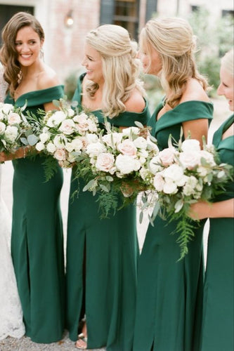 Green Bridesmaid Dress 2021 Off the Shoulder Crepe Satin Maxi Dress with Slit