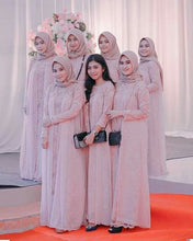 Load image into Gallery viewer, Hijab Bridesmaid Dress 2021 Lace Chiffon Maxi Dress with Long Sleeves