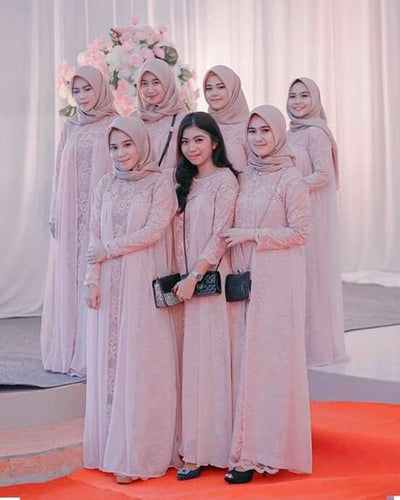 Hijab Bridesmaid Dress 2021 Lace Chiffon Maxi Dress with Long Sleeves