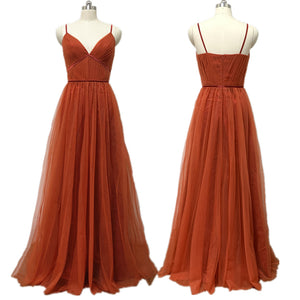 Burnt Orange Rust Bridesmaid Dress 2021 Spaghetti Straps Tulle Maxi Prom Dress