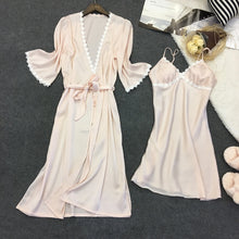 Load image into Gallery viewer, Women's Silk Satin Pajamas 2 Pcs Cami Robe Sets Nightwear
