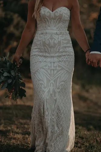 Patterned Sequin Wedding Dress Ivory